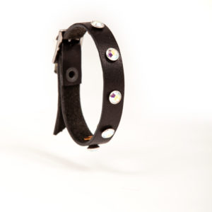 Black leather bracelet with white Swarovski studs
