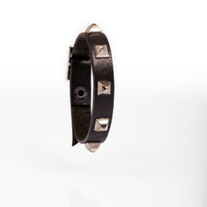 Black leather bracelet with cone-shaped studs