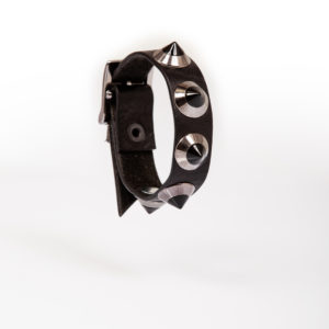 black leather bracelet with gunmetal studs